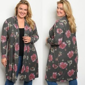 Plus size floral print open front printed cardigan